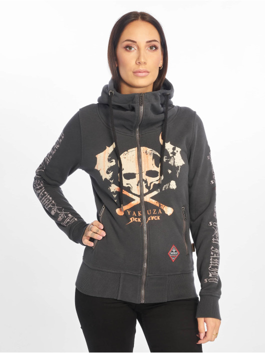 Gris Zippé Sweat High Flying 625911 Capuche Skull Femme Yakuza Neck fyvI7gYb6