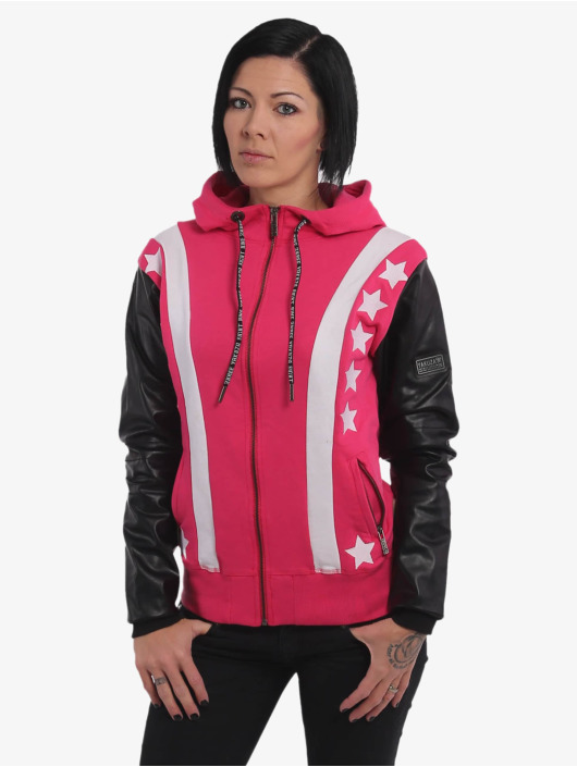 Yakuza Sweat capuche zippé Faux Stars rose