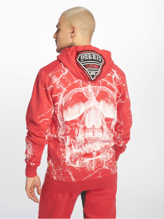 Yakuza Sweat capuche zippé Marble rouge