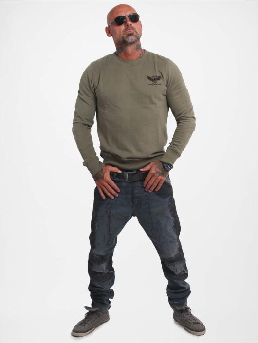 Yakuza Swetry Basic Line Emb Crew oliwkowy