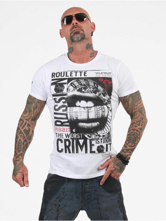 Yakuza T-shirt Russian Roulette bianco