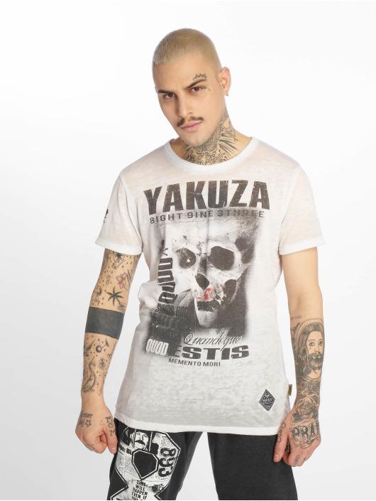 Yakuza T-Shirt Burnout Quod Sumus Hoc Eritis blanc
