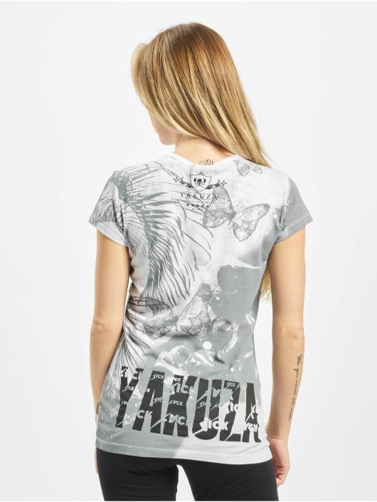 Nouveau Yakusa Femmes Butterfly V-Neck T-Shirt-Afterglow