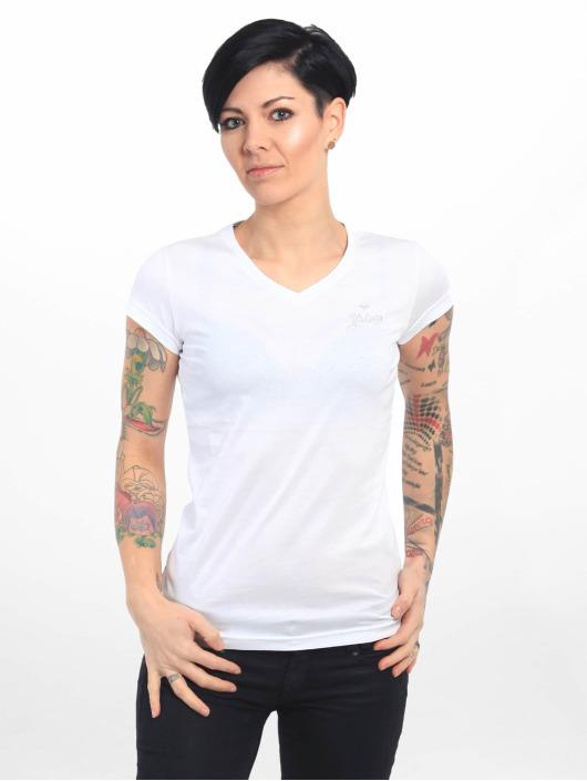 Yakuza T-Shirt Basic Line Script V Neck blanc