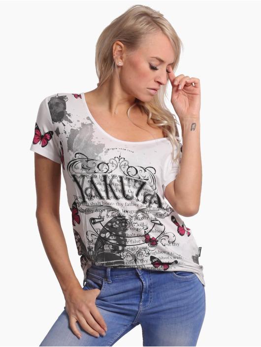 Yakuza T-Shirt Butterfly Meadow Crew blanc