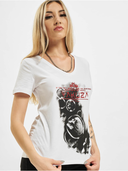 Yakuza T-Shirt Bubble Skull V-Neck blanc