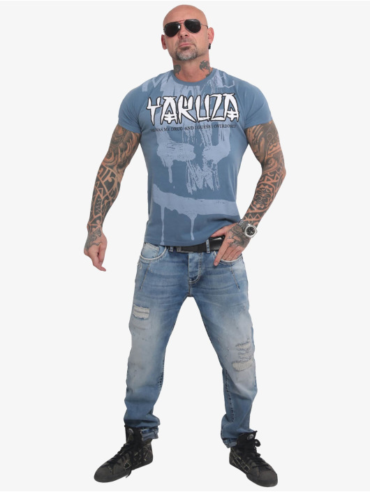 Yakuza T-Shirt Burning Skull blau