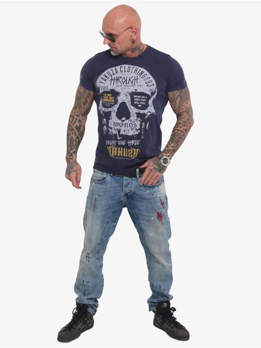 Yakuza T-Shirt Through Skull blau