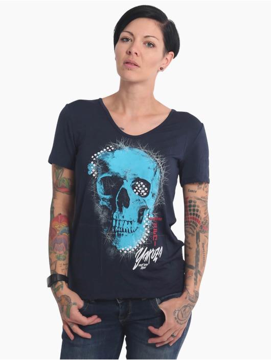 Yakuza T-Shirt Glowing Skull Crew blau