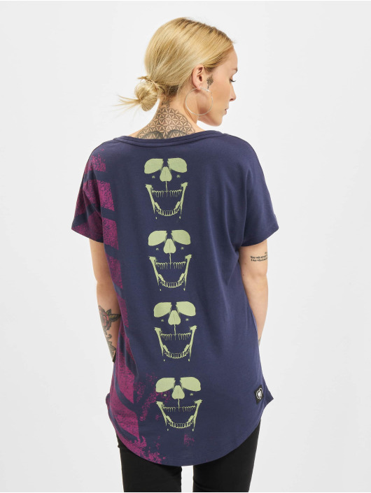 Yakuza T-Shirt Lighting Skull Dye V Neck bleu
