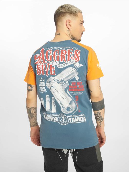 Yakuza T-shirt Aggressive Two Face blu