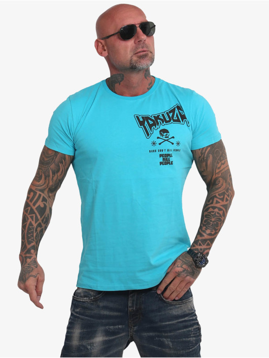 Yakuza T-shirt Guns Vs People blu