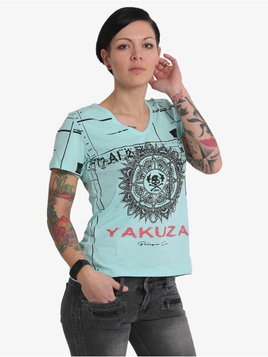 Yakuza T-Shirt Mandala V Neck blue