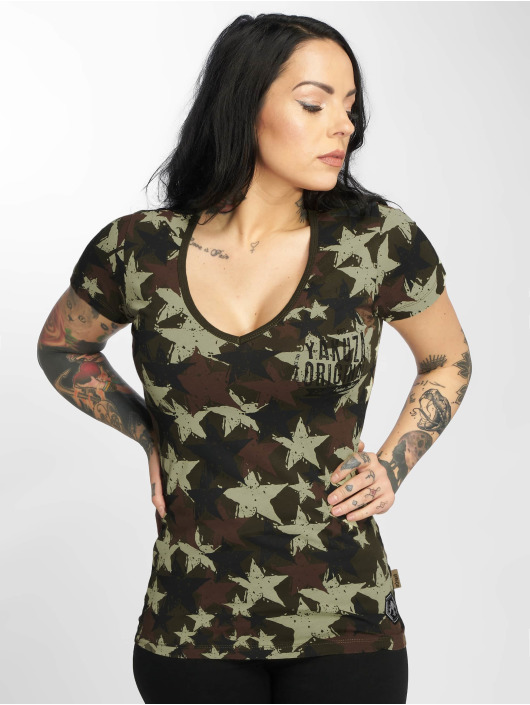 Yakuza t-shirt Stars V-Neck camouflage