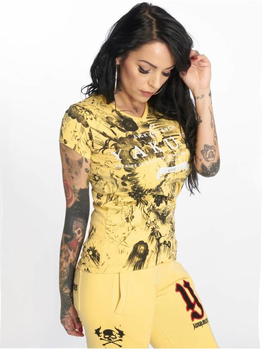 Yakuza t-shirt Flower Skull V-Neck geel