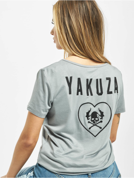 Yakuza T-Shirt 893Love Emb V Neck grau