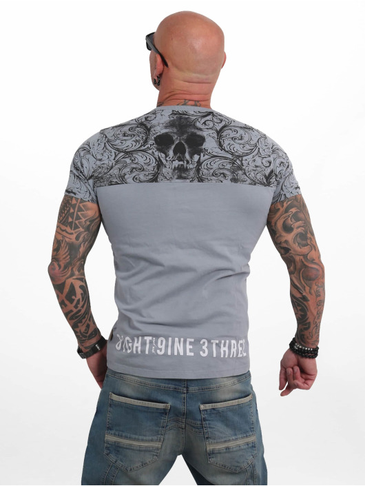 Yakuza T-Shirt Ornamentic Skull gray