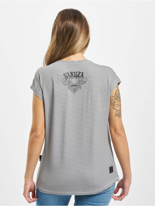 Yakuza T-Shirt Dropping Skull Stripe gray
