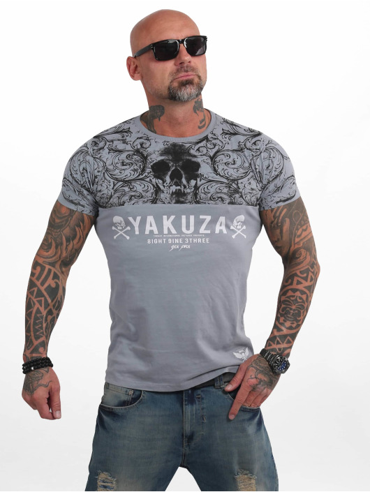 Yakuza T-Shirt Ornamentic Skull grey