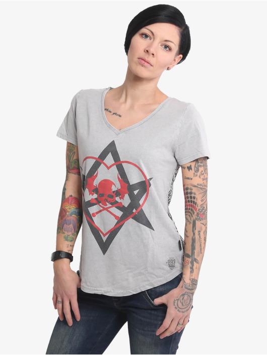 Yakuza T-Shirt 893Love Allover V Neck grey