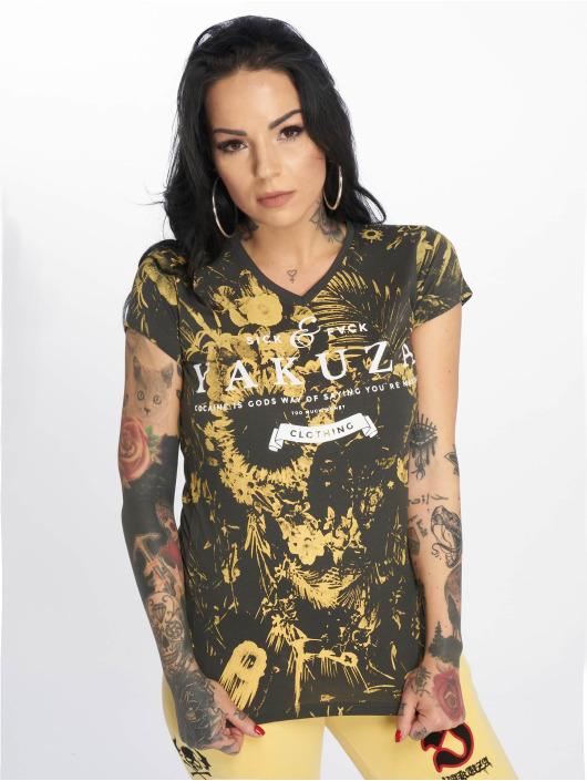 Yakuza T-Shirt Flower Skull V-Neck gris