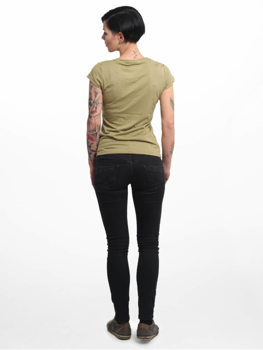 Yakuza T-shirt Basic Line Script V Neck grön