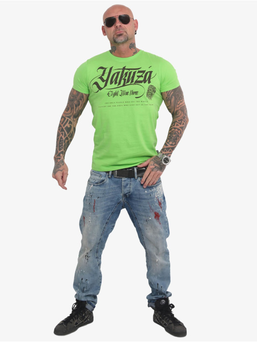 Yakuza t-shirt Indian Skull groen