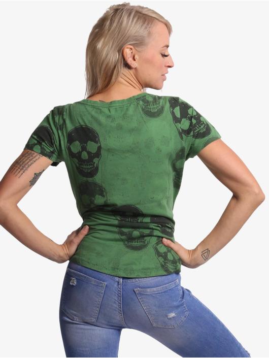 Yakuza T-Shirt Overdosed Dye V-Neck grün