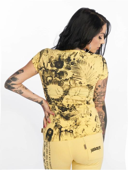 Yakuza T-Shirt Flower Skull V-Neck jaune