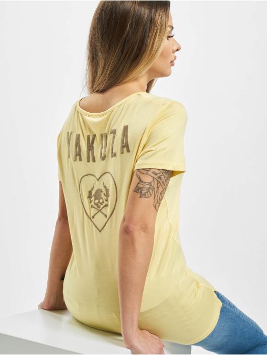 Yakuza T-Shirt 893Love Emb V Neck jaune