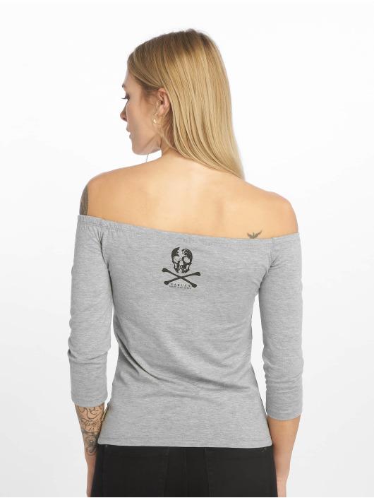 Yakuza T-Shirt manches longues Flying Skull Off Shoulder gris