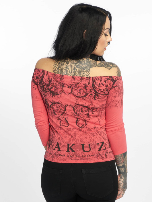 Yakuza T-Shirt manches longues Ornamental Skull Off Shoulder magenta