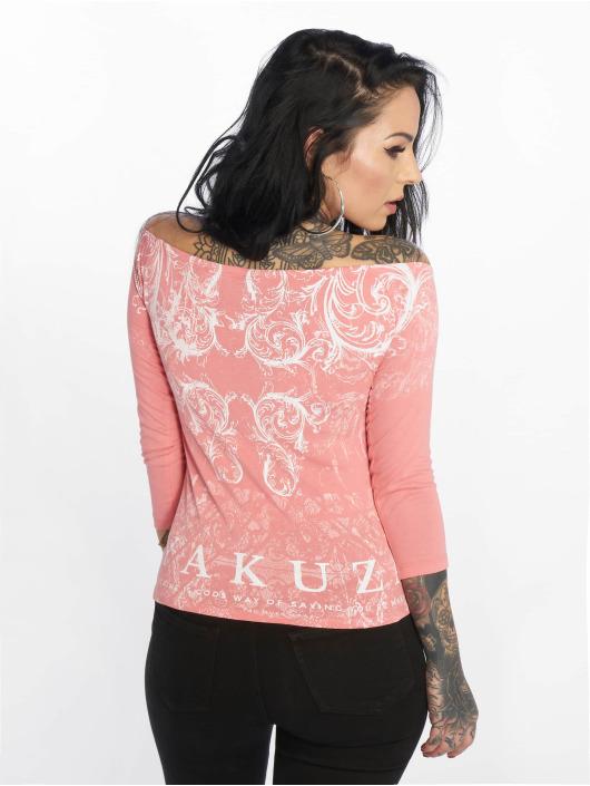 Yakuza T-Shirt manches longues Ornamental Skull Off Shoulder rose