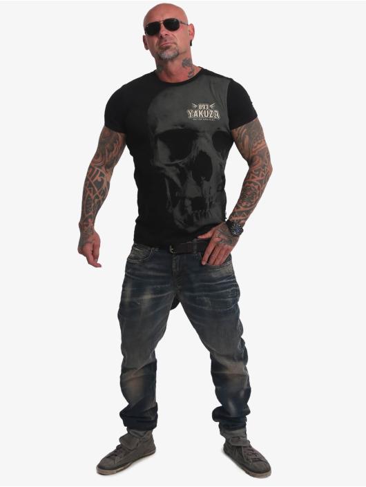 Yakuza T-shirt Cuernos De Chivo Skull nero