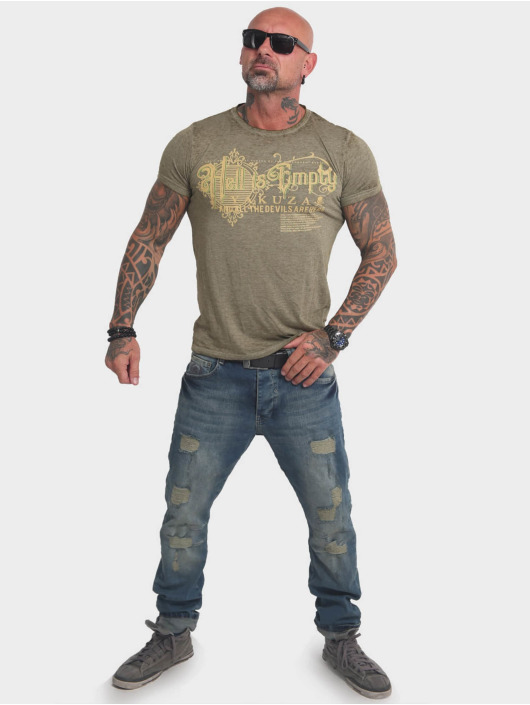 Yakuza T-Shirt Hell Is Empty Burnout olive
