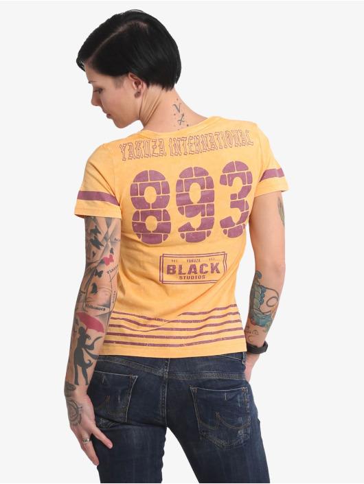 Yakuza T-Shirt International Stripes V Neck orange
