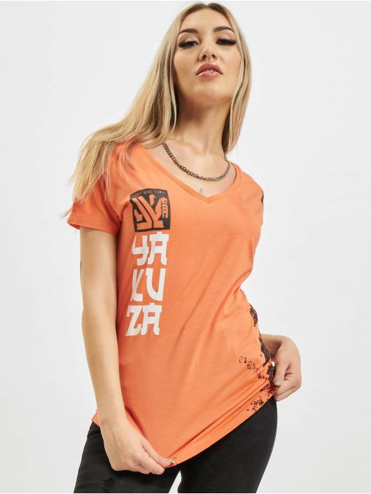 Yakuza T-Shirt Lighting Skull Dye V Neck orange