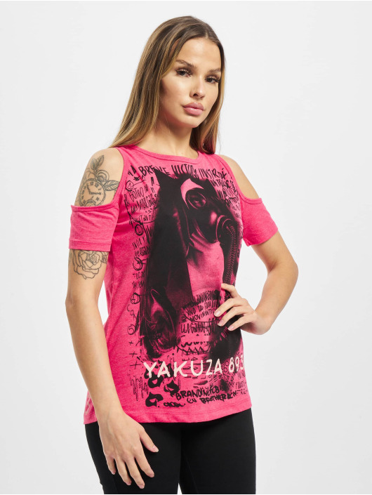 Yakuza T-Shirt Respirator Shoulder Cut red