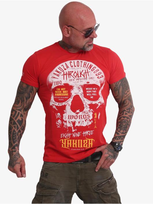 Yakuza t-shirt Through Skull rood