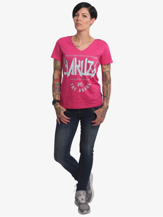 Yakuza T-Shirt Boobs V-Neck rosa