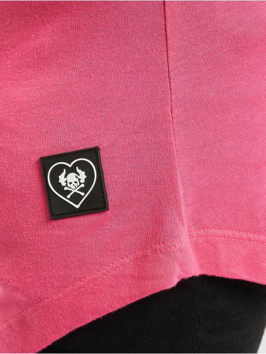 Yakuza T-shirt Lighting Skull Dye V Neck rosa chiaro