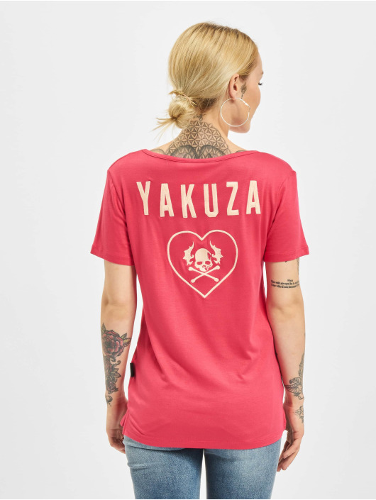Yakuza T-Shirt 893Love Emb V Neck rouge