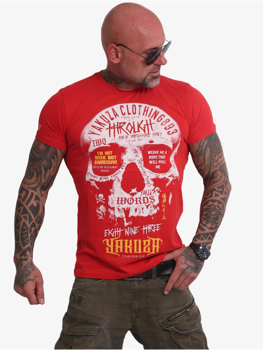 Yakuza T-Shirt Through Skull rouge