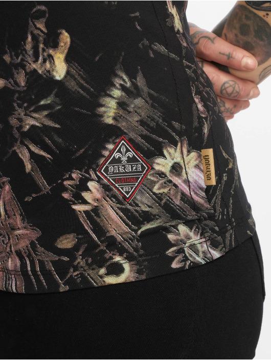 Yakuza T-Shirt Flower Skull V-Neck schwarz