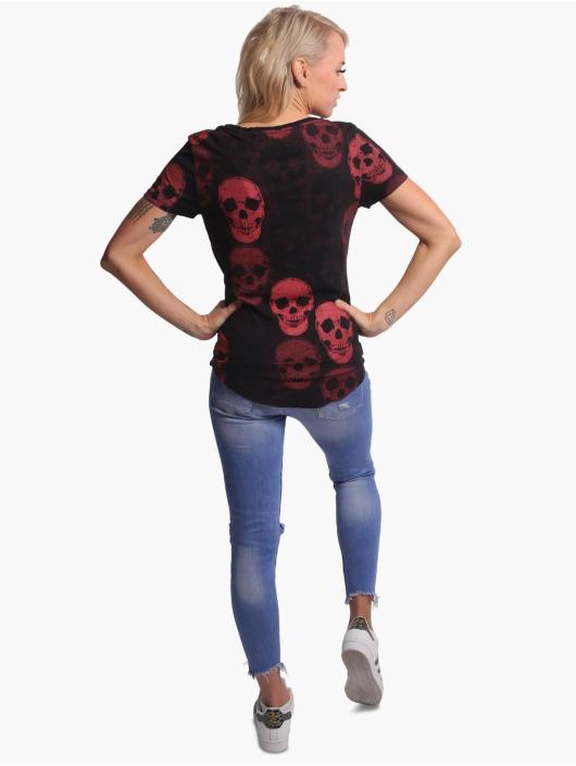 Yakuza T-Shirt Overdosed Dye V-Neck schwarz