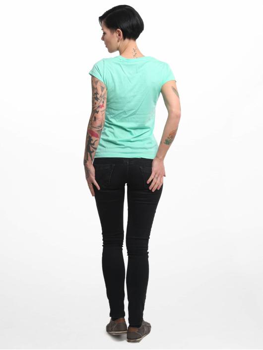 Yakuza T-shirt Basic Line Script V Neck turchese