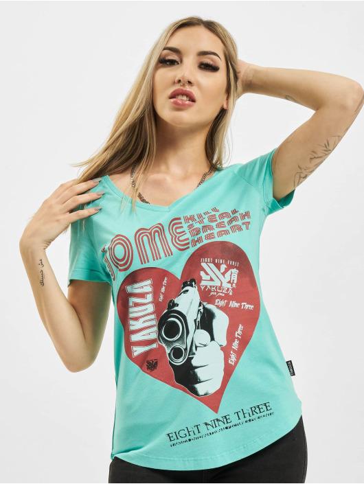 Yakuza t-shirt Painted Gun Dye V Neck turquois