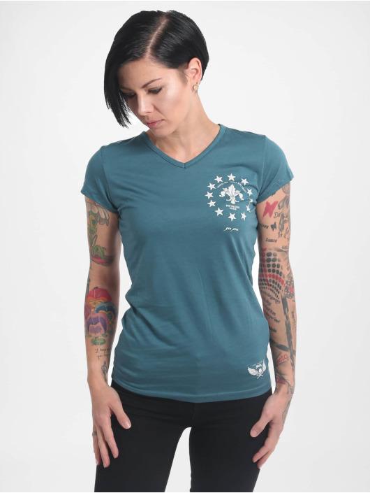 Yakuza T-Shirt Looking For V02 V Neck turquoise