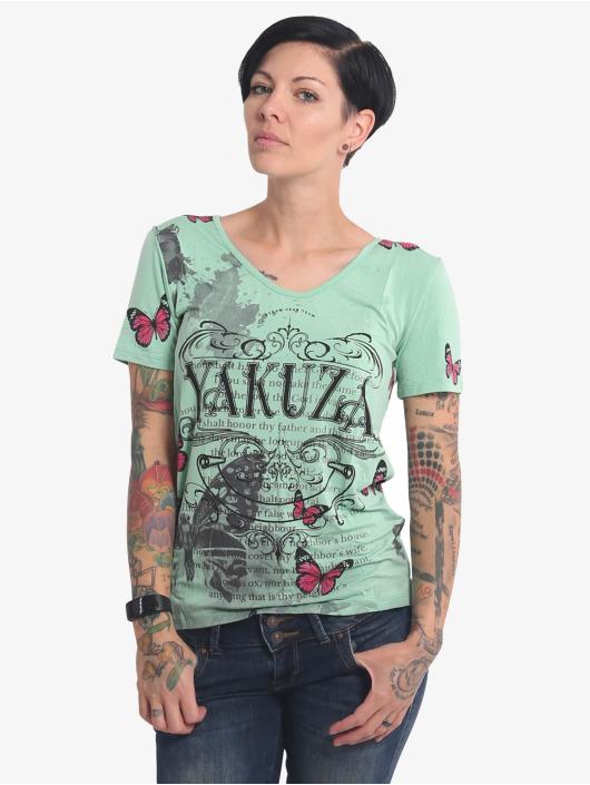 Yakuza T-Shirt Butterfly Meadow Crew turquoise