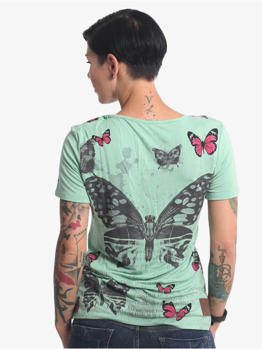 Yakuza T-Shirt Butterfly Meadow Crew turquoise